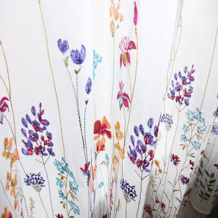 刺繍レース生地カーテン