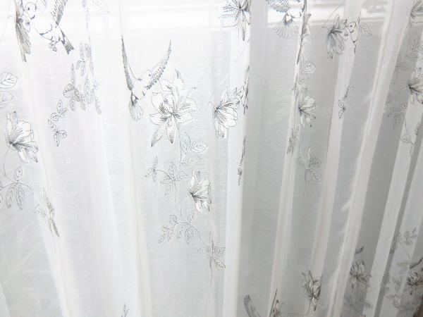 バード柄のオーダーカーテン