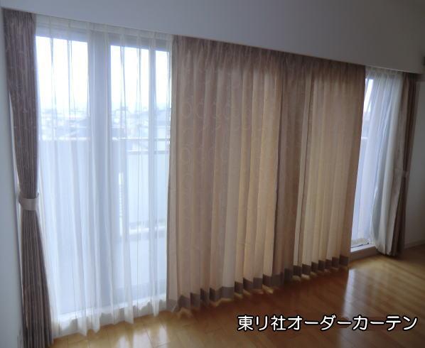 リビング大窓へオーダーカーテン納品