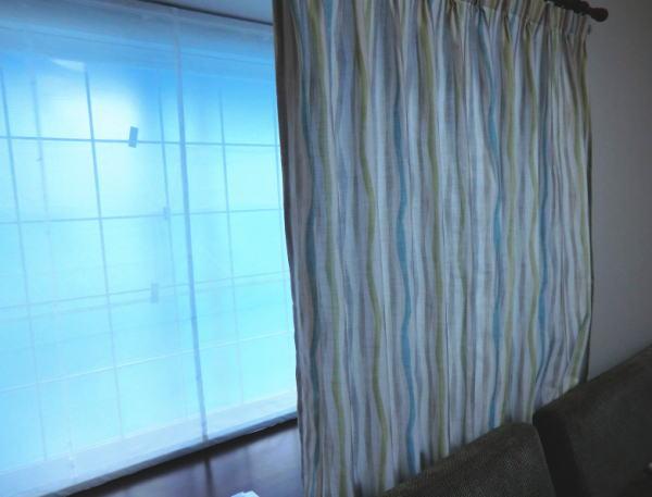 台形出窓に3台割りのプレーンシェード納品