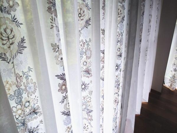 ボイル刺繍オーダーレースカーテン納品