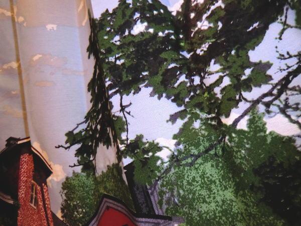 店頭吊りヒダカーテンにVALLILA-ロイミジョキ(MULTI)カーテン入荷