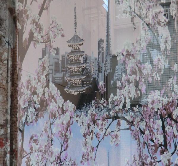 京都府長岡京市の店頭吊りカーテンにVALLILA-トキオ(PI)カーテン