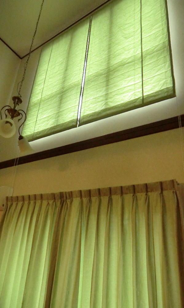 シングルシェード2分割、吹き抜け高窓納品-京都府向日市戸建住宅