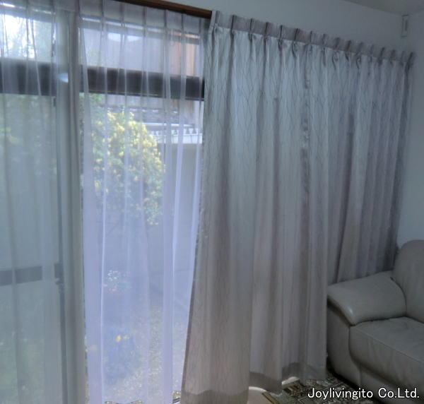 京都府長岡京市内住宅リビング(掃き出し、中間窓)へオーダーカーテン新調