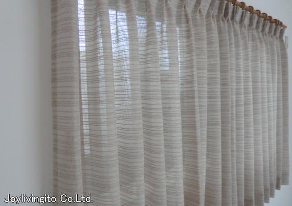 ケースメント生地のオーダーカーテン(京都市西京区戸建て住宅納品)